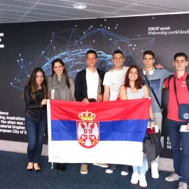 "Serbian team at the final debate of ""European Student Parliaments – Debate science!"" from 25-27 July in Manchester"