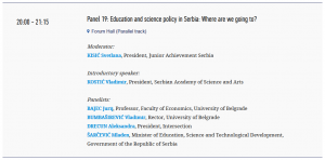 Kopaonik Business Forum 2018, March 04-07, Panel 19: Education and science policy in Serbia: Where are we going to?