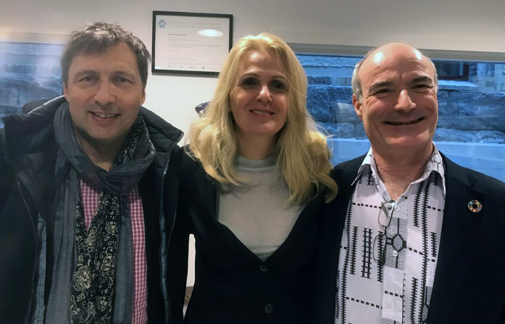 From left to right: Jan Riise (Engagement Coordinator at MUF), Aleksandra Drecun (President of Intersection) and Dr David Simon (Director of MUF)